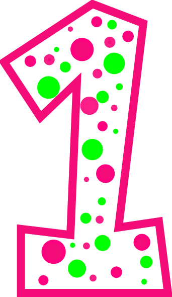 Number 1 pink and green polkadot